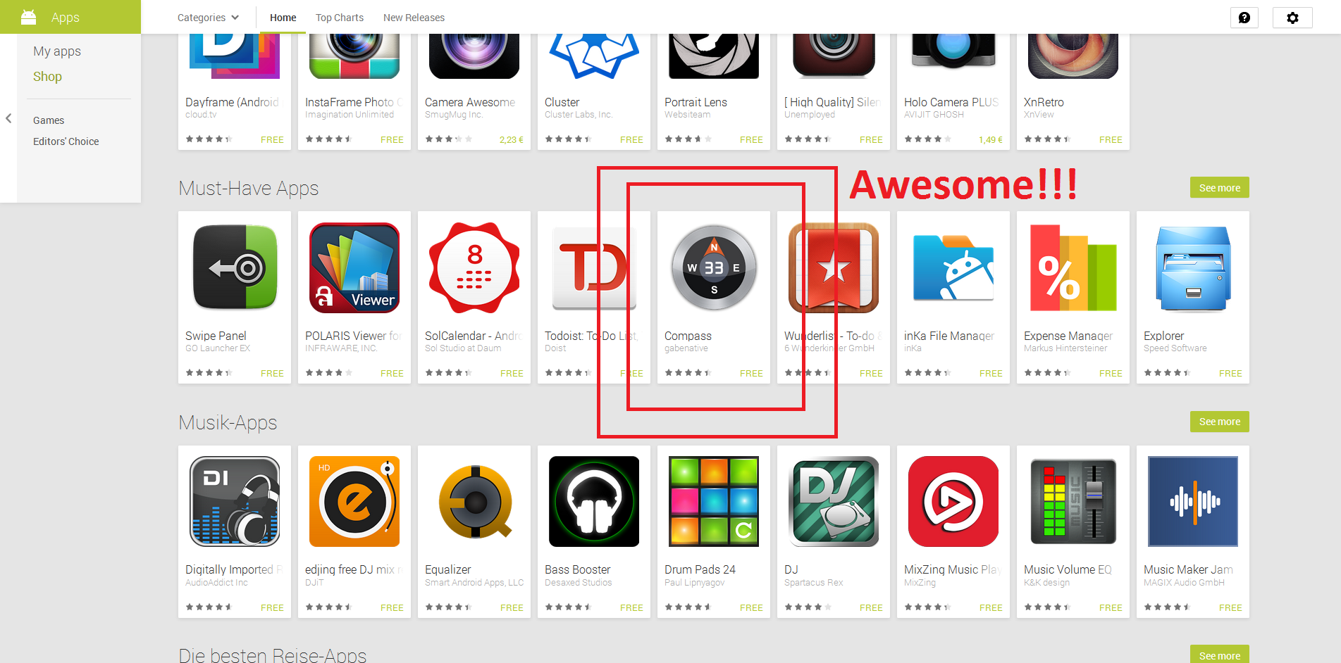 "Screenshot of featuring of gabenative Compass in category ""Must Have"" on Google Play."